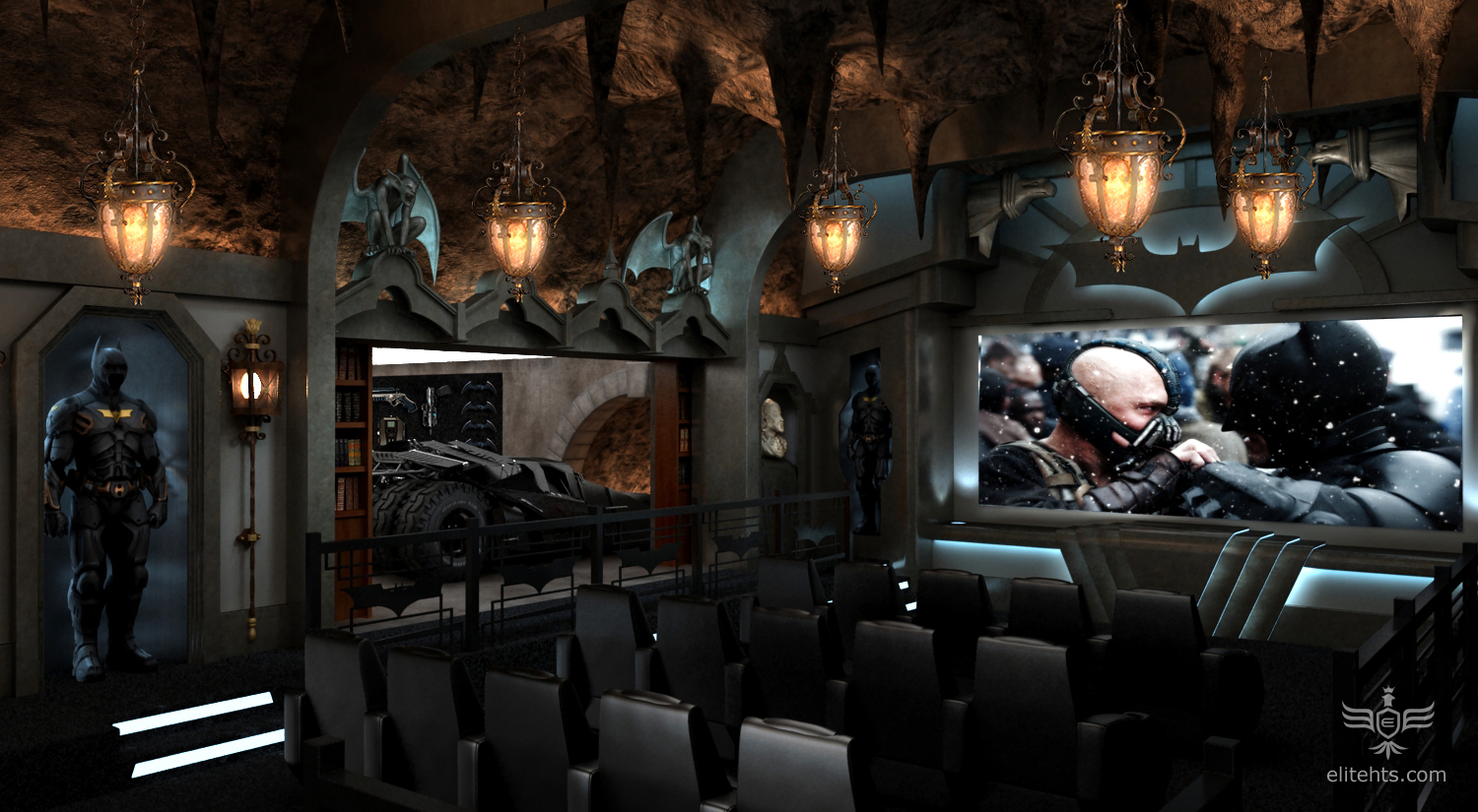 Random Cool Dark Knight Themed Home Theater For Only 2 Million