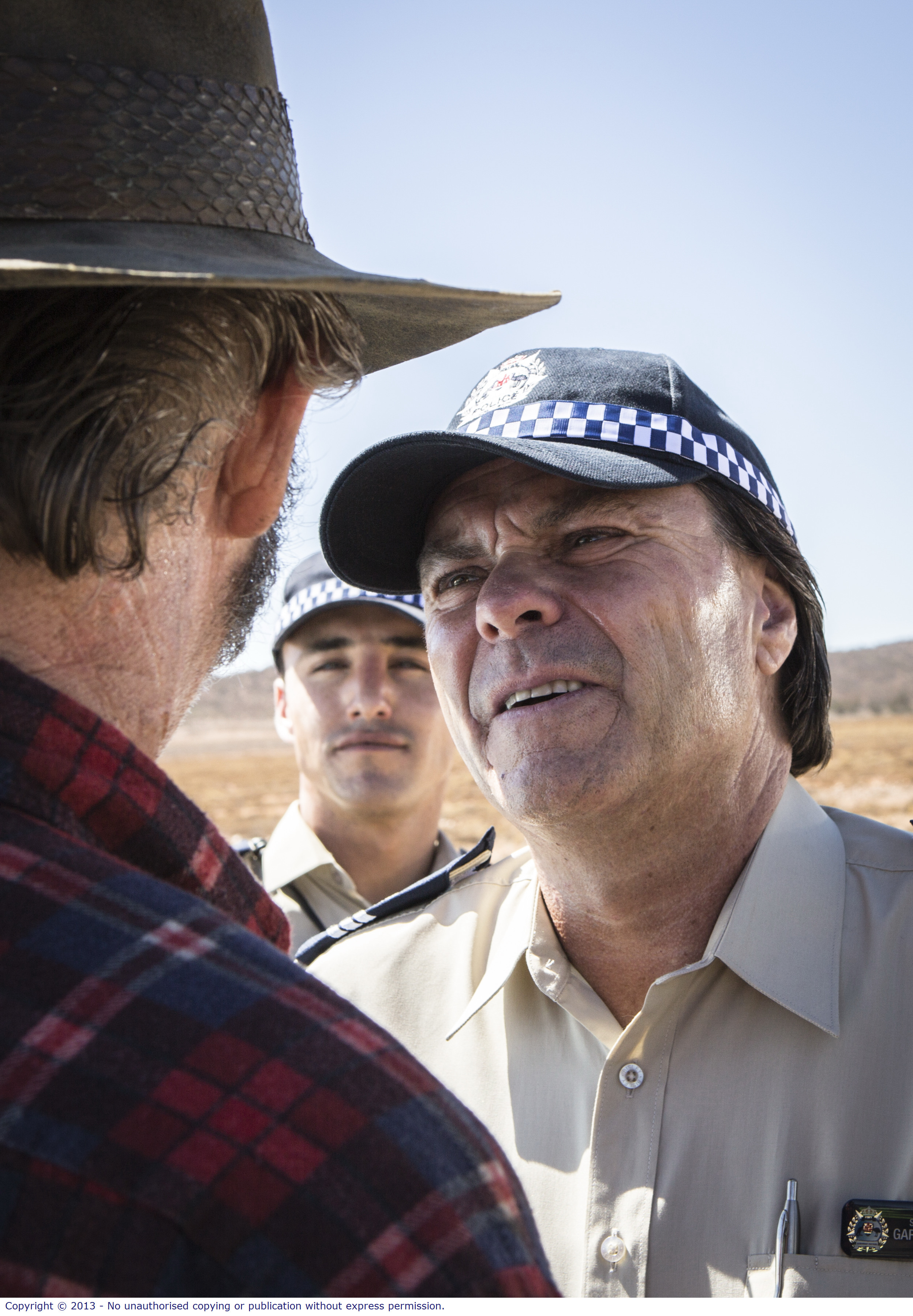 WolfCreek2_John Jarrat as Mick Taylor with Shane Connor and Ben Gerrard as local policeman