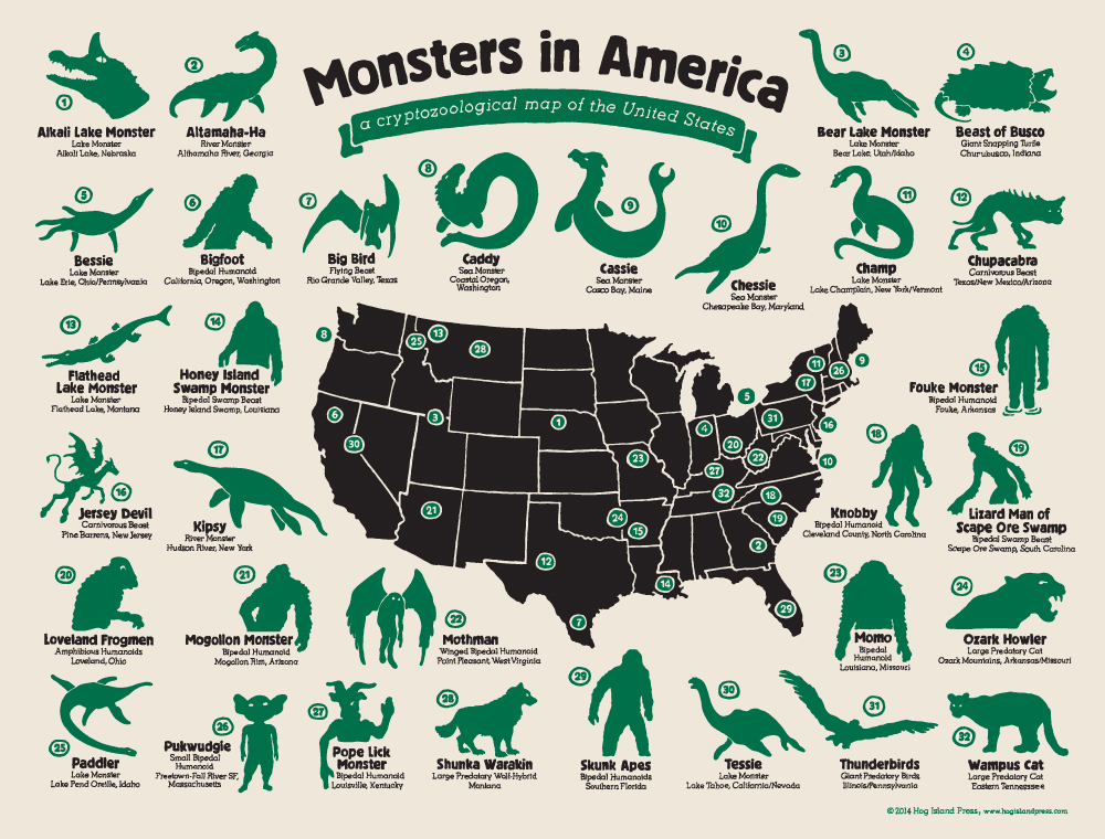 Full Map Of Usa.The Full Map Of Monsters In America