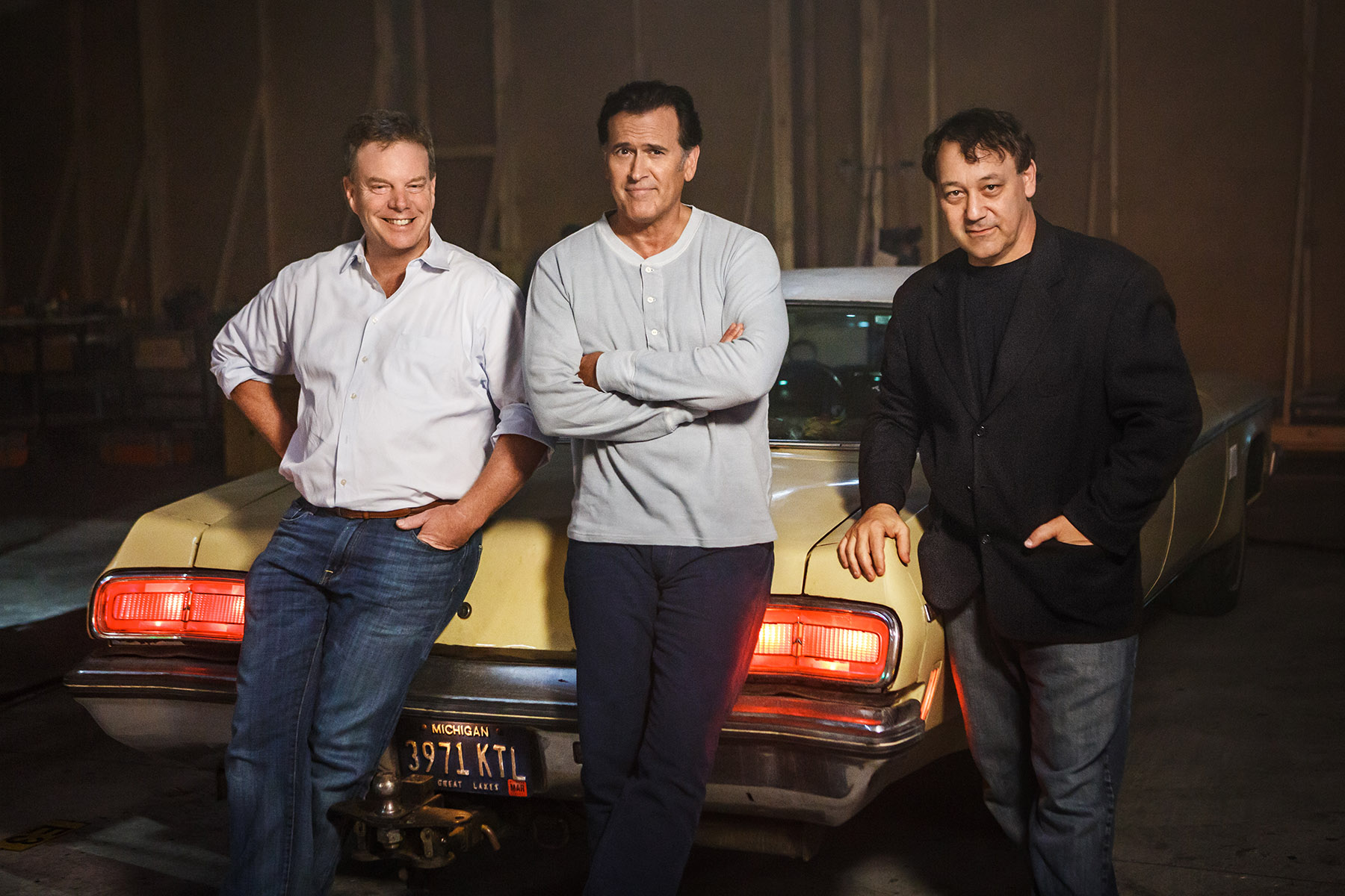 """PHOTO CAPTION: From left to right: Executive producer Robert Tapert, star of the series and executive producer Bruce Campbell along with executive producer Sam Raimi, original filmmakers of the EVIL DEAD franchise, start production on the TV series """"Ash vs Evil Dead"""" which will premiere this fall on Starz. PHOTO CREDIT: © 2015 Starz Entertainment, LLC"""
