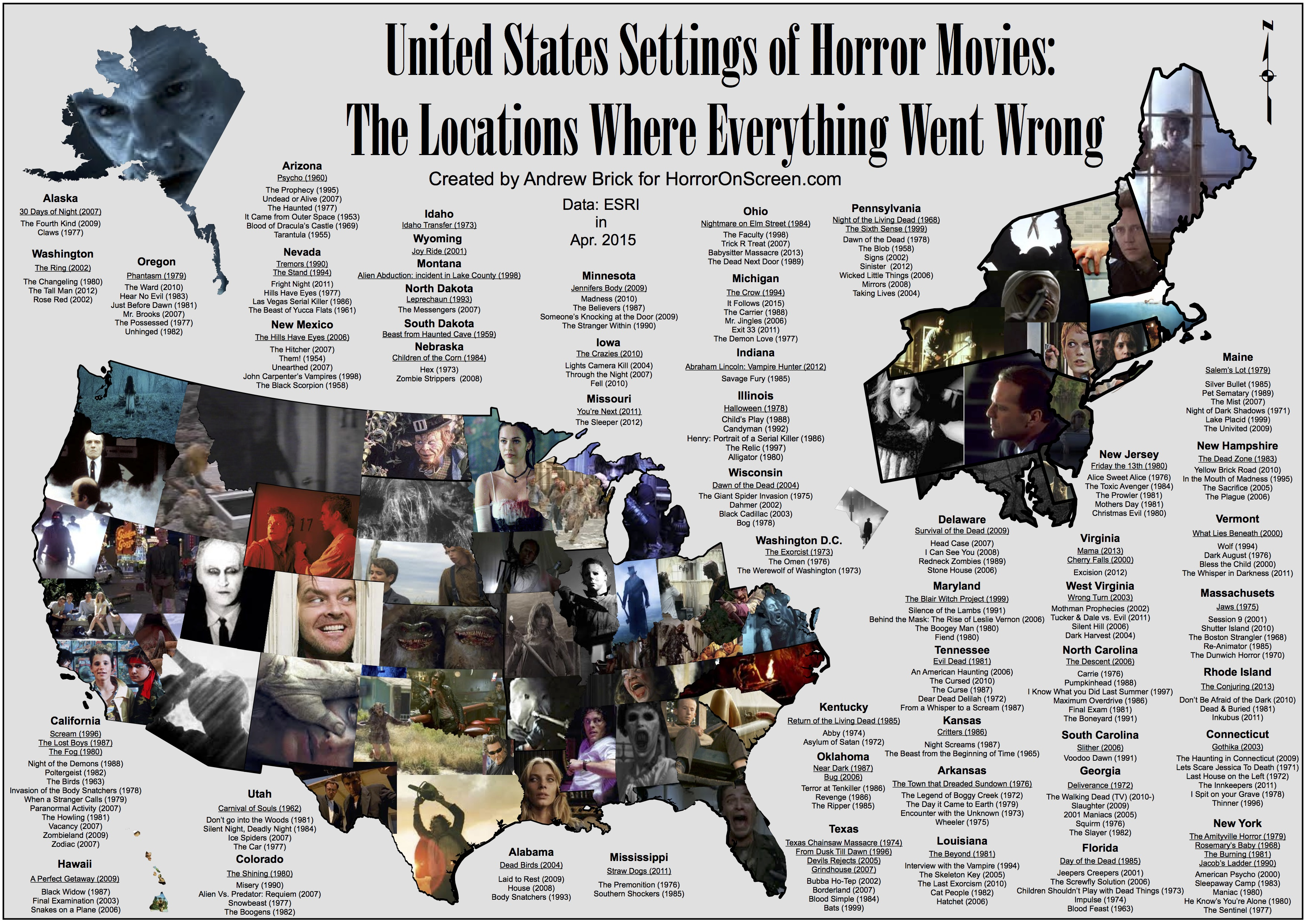 Place States On Map Here's A US Map Showing Where Horror Movies Took Place