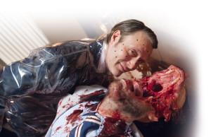 Motion Capture points on Mads Mikkelsen's face during filming. ©NBCUniversal Media, LLC.
