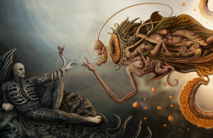 Art via Deviant Art DEJANO 23 (http://dejano23.deviantart.com/art/prometheus-and-god-313679402)