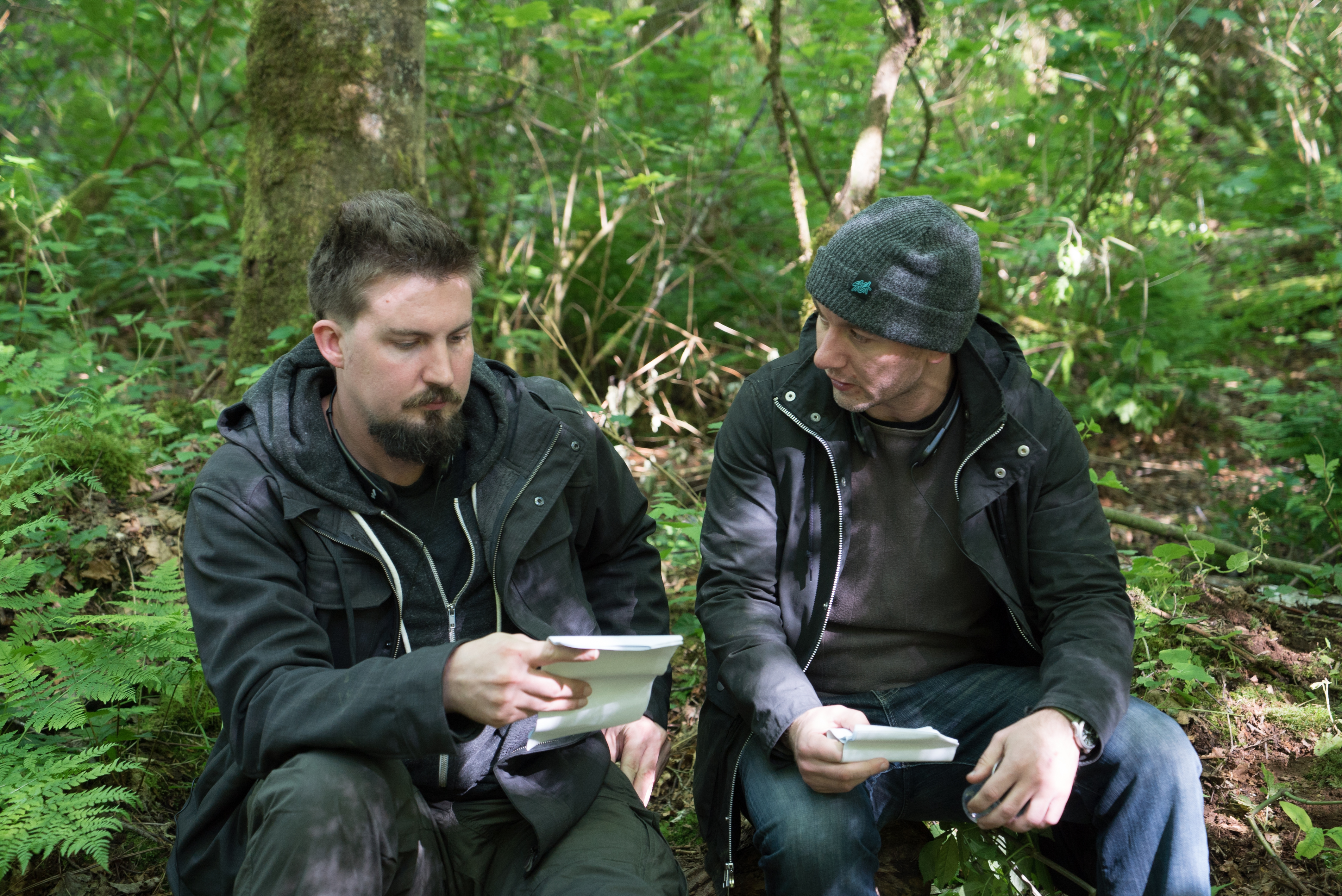 Adam Wingard and Simon Barrett on the set of Lionsgate's BLAIR WITCH
