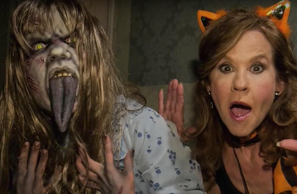 watch linda blair walk through the exorcist maze at halloween