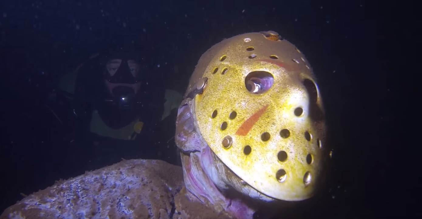fan installed jason voorhees statue underwater at popular minnesota