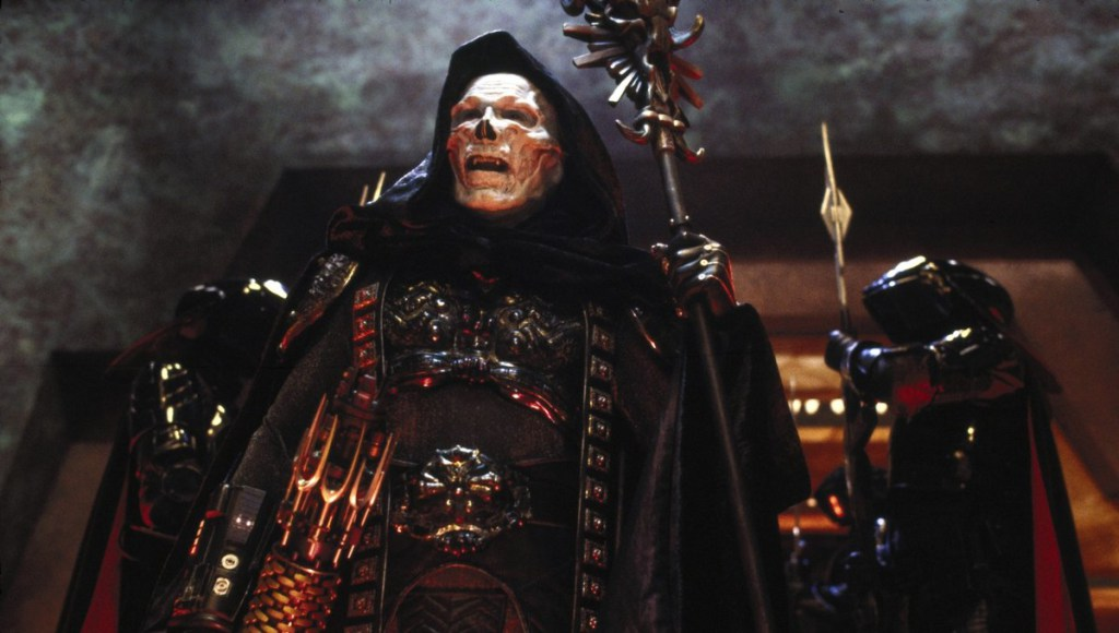 Frank Langella as Skeletor in Masters of the Universe which is a He-Man movie starring Frank Langella as Skeletor in a movie called Masters of the Universe.