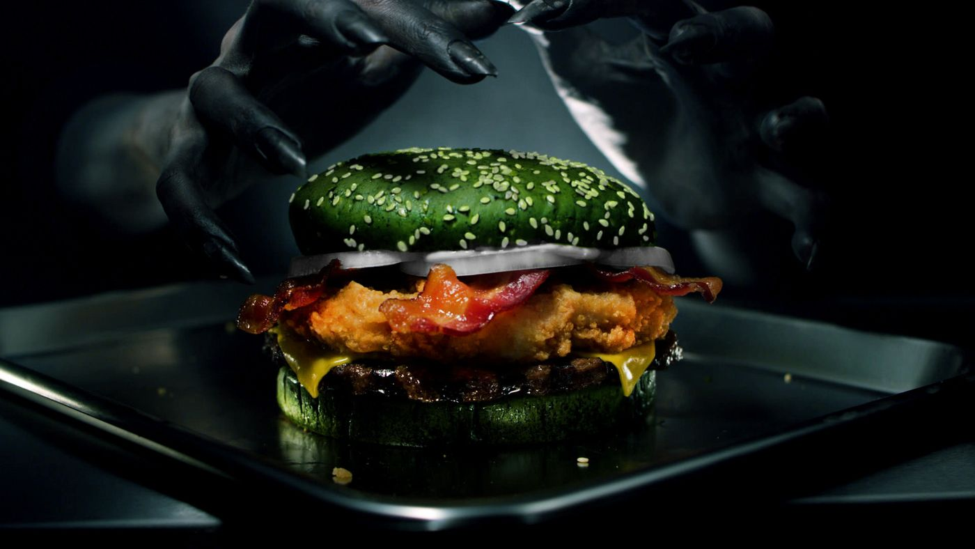 "burger king unleashing the ""nightmare king"" burger for halloween"