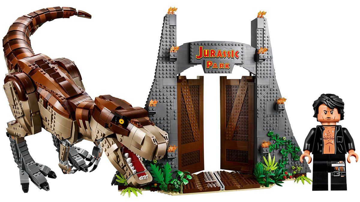 anniversary jurassic park lego set includes a t